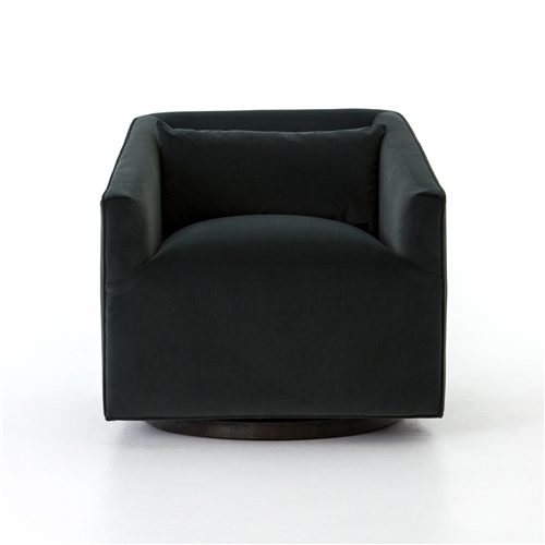 Kensington York Swivel Chair in Velvet Smoke