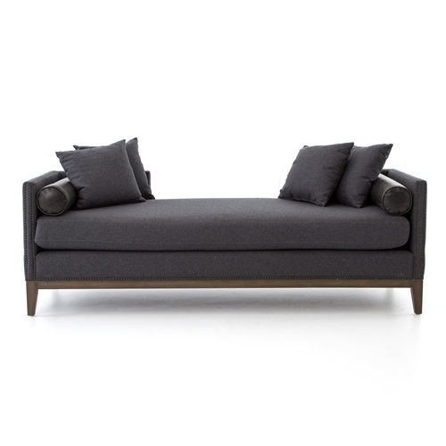Kensington Mercury Double Chaise in Charcoal Felt