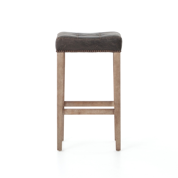 Ashford Sean Barstool In Destroyed Black Leather The