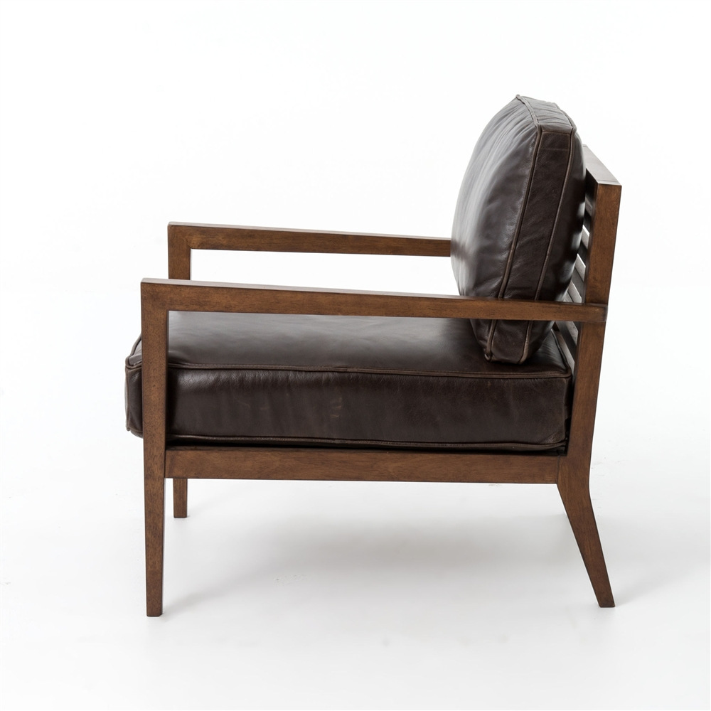 kensington laurent wood frame accent chair in leather