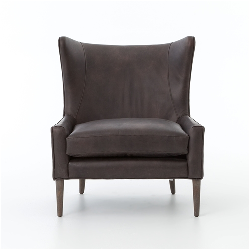 Kensington Marlow Wing Chair-Vintage Black Leather