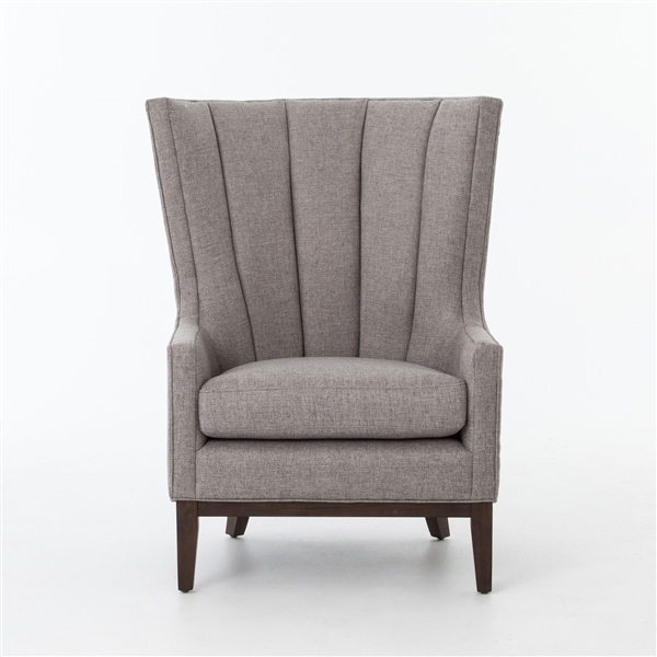 Kensington Channelled Wing Chair Chess Pewter