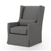 Kensington Swivel Wing Chair in Finn Charcoal