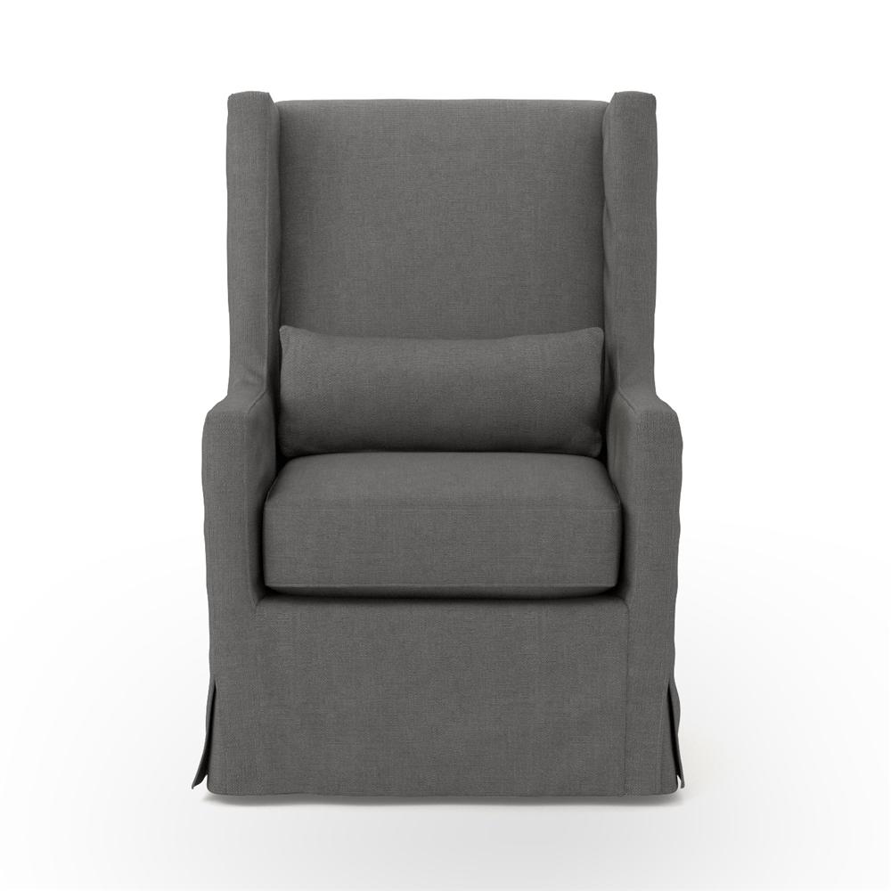 Kensington Swivel Wing Chair In Charcoal