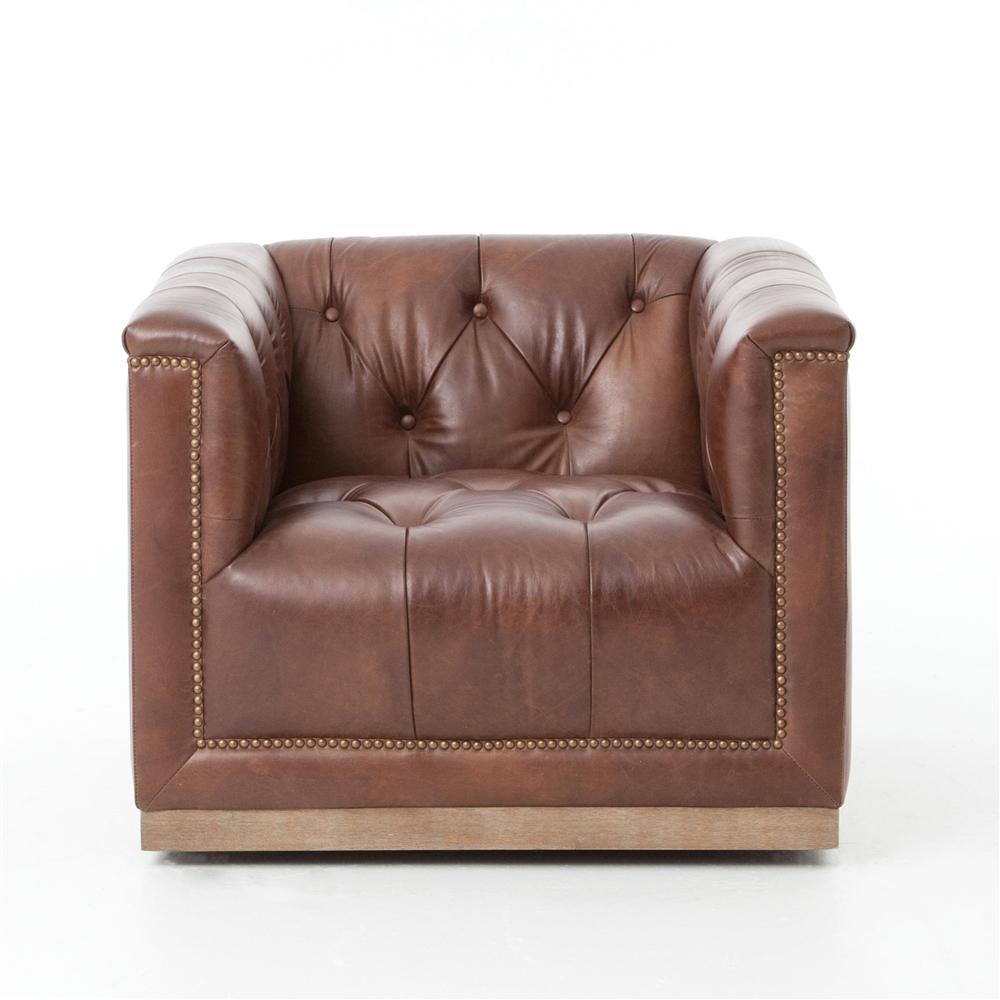 Kensington Maxx Swivel Chair-Antique Whisky Leather - Kensington Maxx Swivel Chair-Antique Whisky Leather, The Khazana