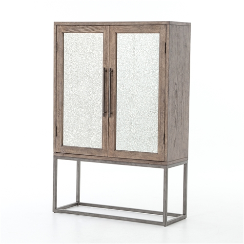 Finley Bar Cabinet in Antique Mirrors
