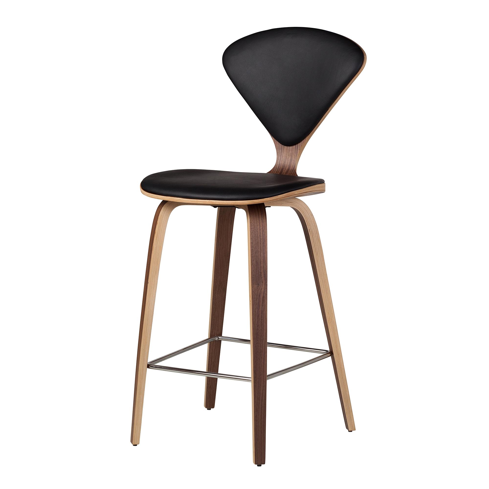 Cherner Inspired Bar Stool In Black Leather The Khazana Home Austin