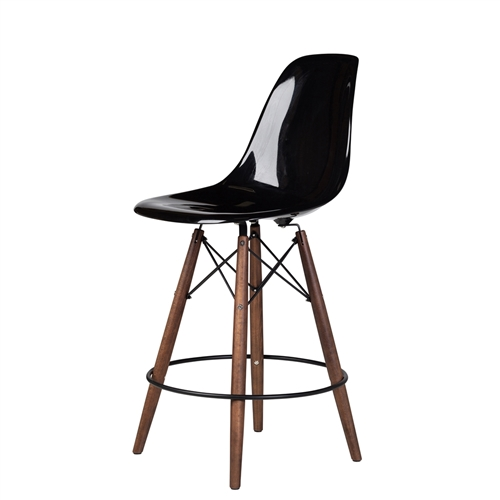 Charles Eames Style DSW Fiberglass Counter Stool in Black