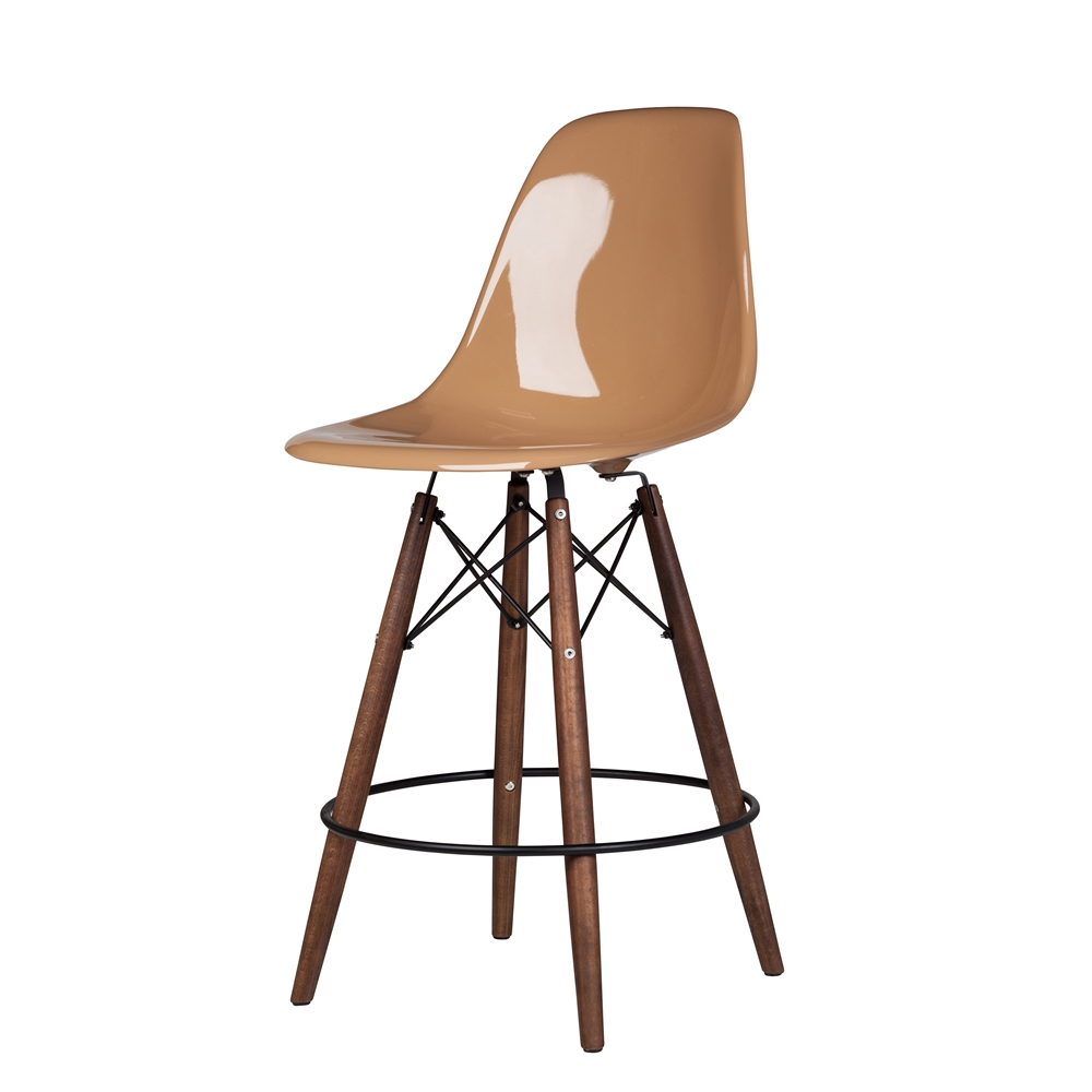 charles eames style dsw fiberglass counter stool in black the