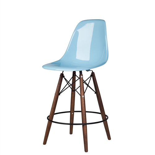 Charles Eames Style DSW Fiberglass Counter Stool in Blue
