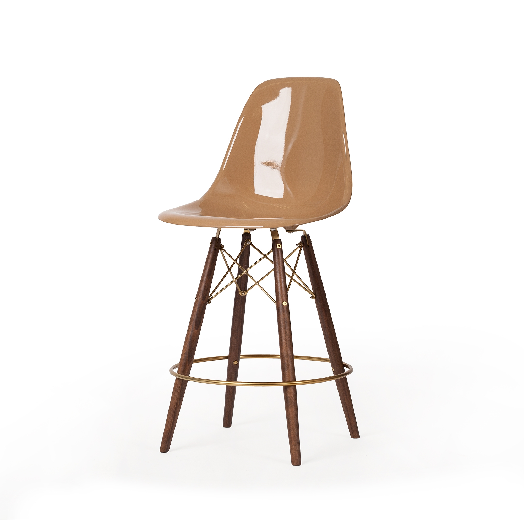 Phenomenal Molded Light Latte Brown Fiberglass Midcentury Modern Counter Stool Champagne Gold Detail Squirreltailoven Fun Painted Chair Ideas Images Squirreltailovenorg