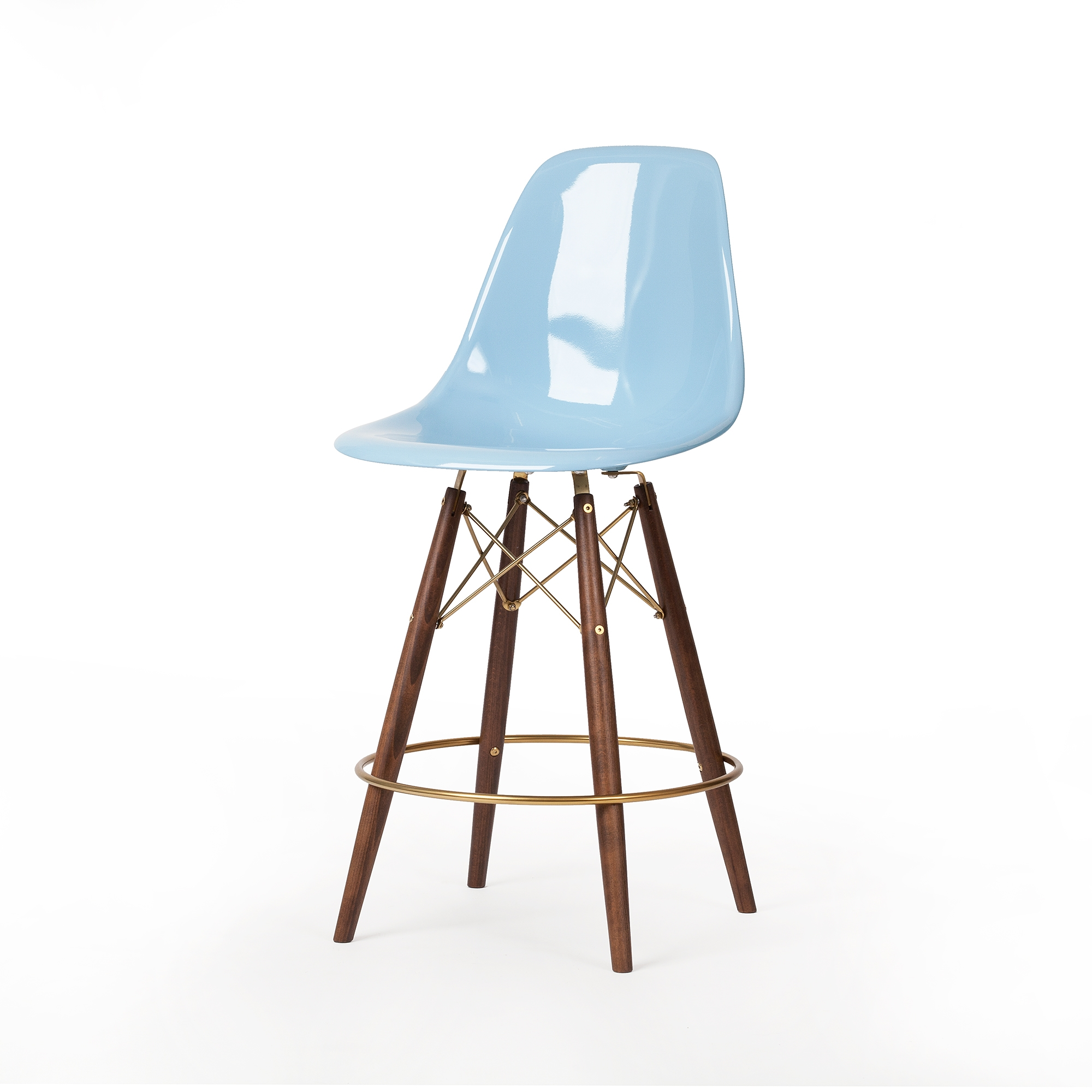 Astonishing Molded Light Blue Fiberglass Midcentury Modern Counter Stool Champagne Gold Detail Pabps2019 Chair Design Images Pabps2019Com