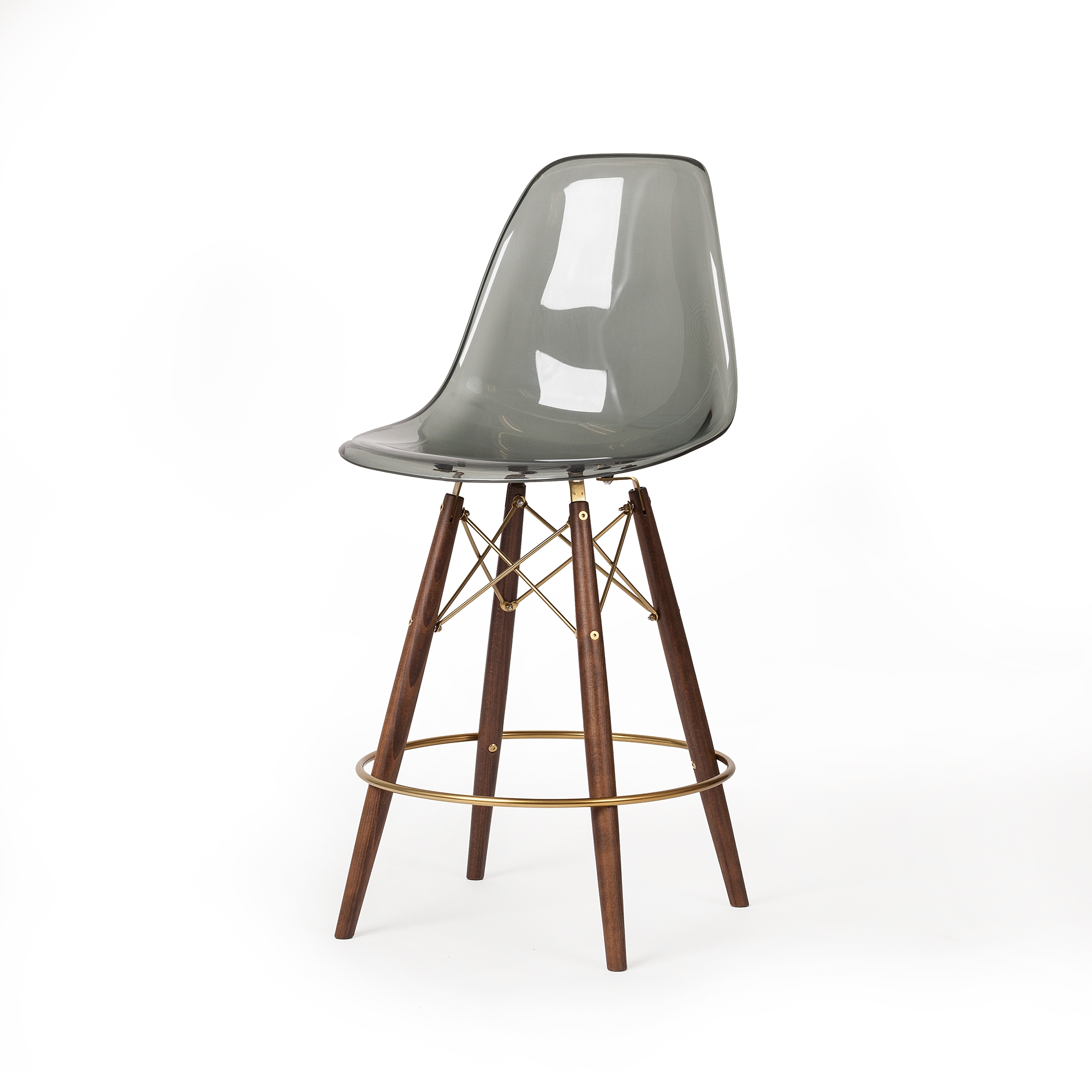 Groovy Molded Smoke Translucent Acrylic Midcentury Modern Counter Stool Champagne Gold Detail Squirreltailoven Fun Painted Chair Ideas Images Squirreltailovenorg