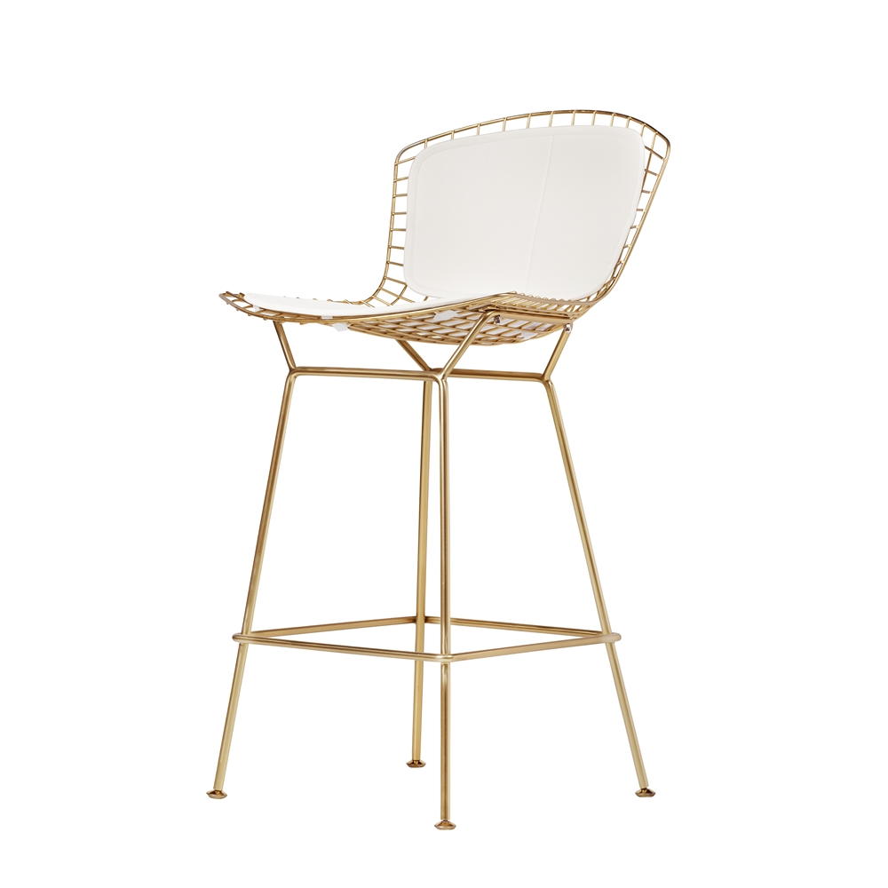 Bertoia style counter stool in champagne gold