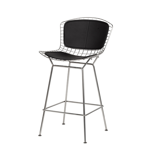 Bertoia Style Stainless Steel Counter Stool - Black Seat Pad