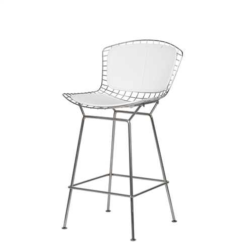 Bertoia Style Stainless Steel Counter Stool in White