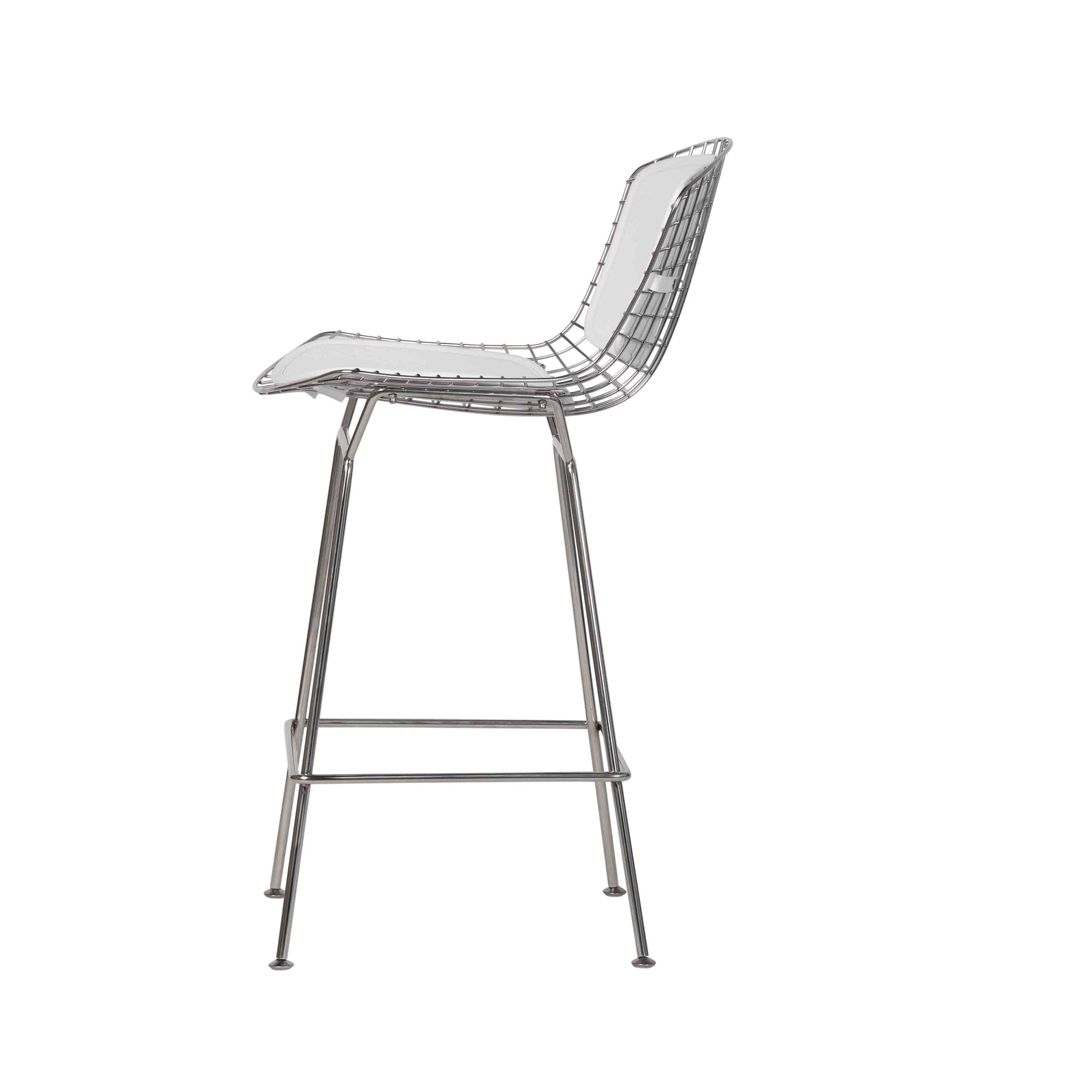 Astonishing Bertoia Style Stainless Steel Counter Stool White Seat Pad Ocoug Best Dining Table And Chair Ideas Images Ocougorg
