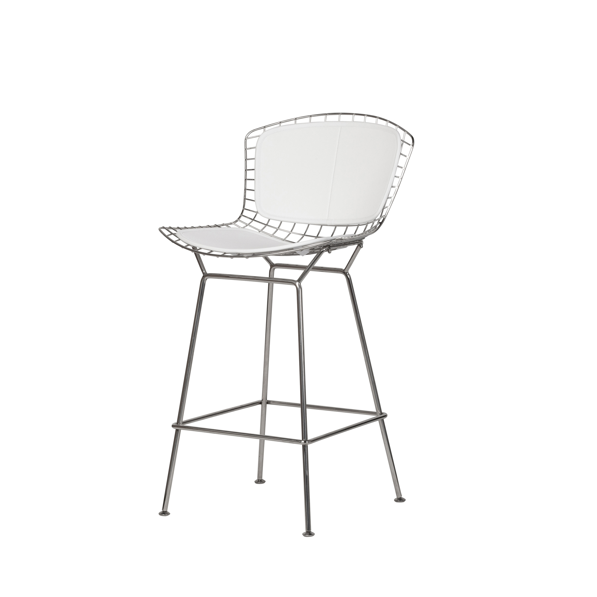 Wondrous Bertoia Style Stainless Steel Counter Stool White Seat Pad Ocoug Best Dining Table And Chair Ideas Images Ocougorg