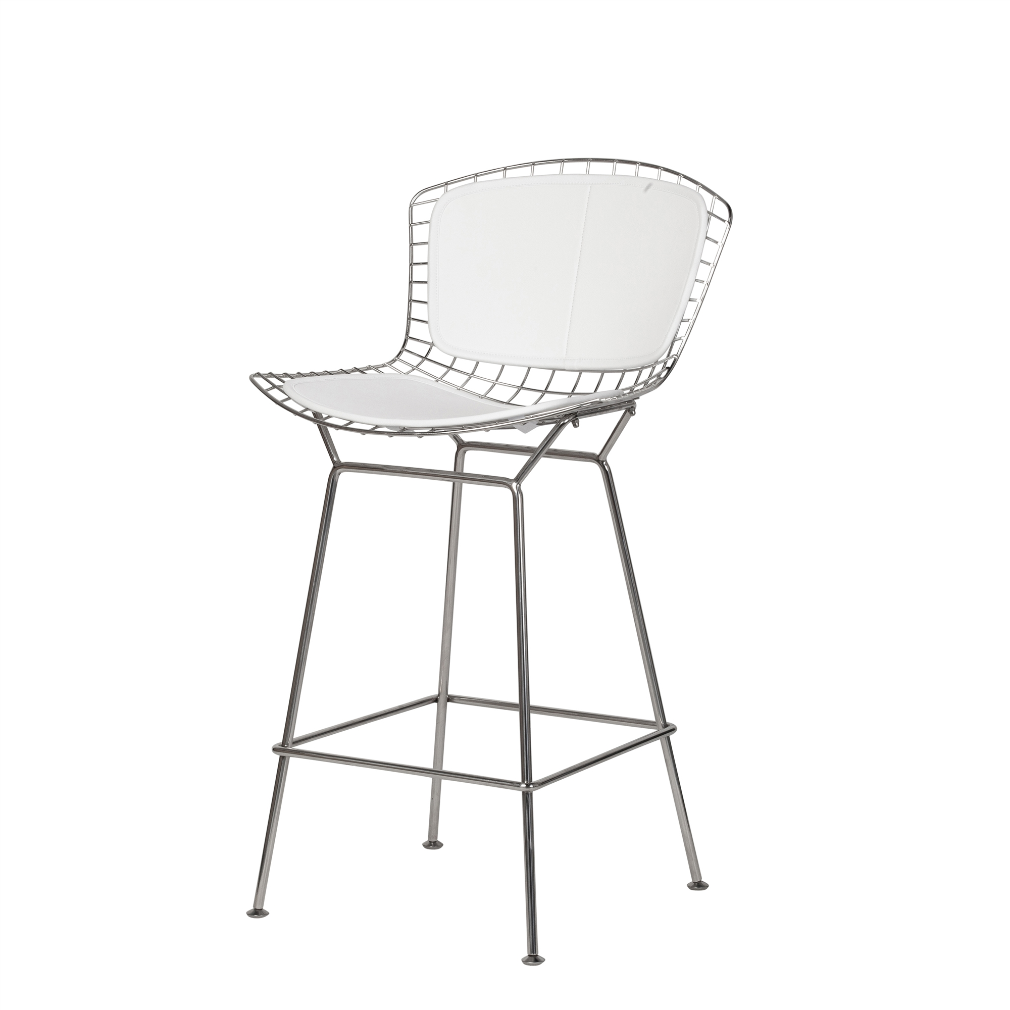 Terrific Bertoia Style Stainless Steel Counter Stool White Seat Pad Ocoug Best Dining Table And Chair Ideas Images Ocougorg