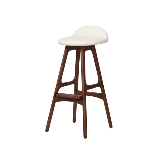 Erik Buch OD Mobler Teak Inspired Bar Stool with White Leather