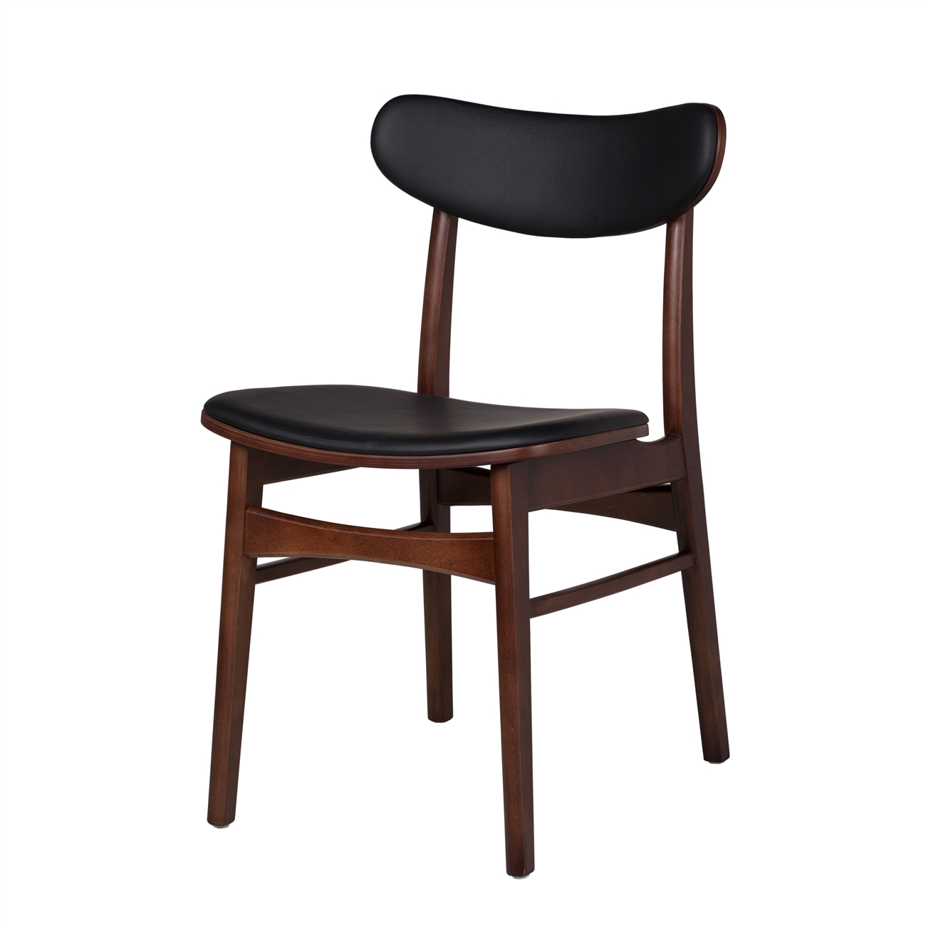 Baumritter Style Dining Chair With Black Leather Upholstery
