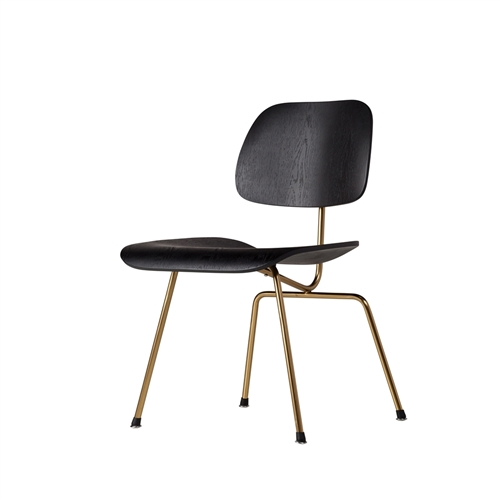 Charles Eames Style Molded Plywood Dining Chair in gold