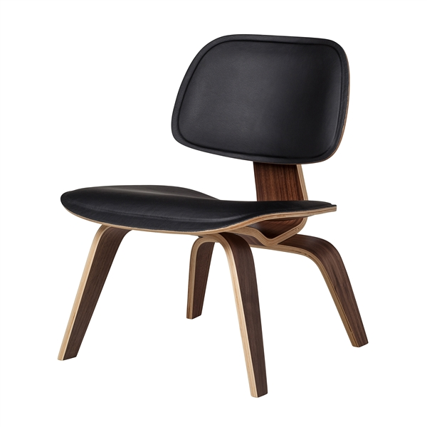 Molded Plywood Lounge Chair in Black Leather