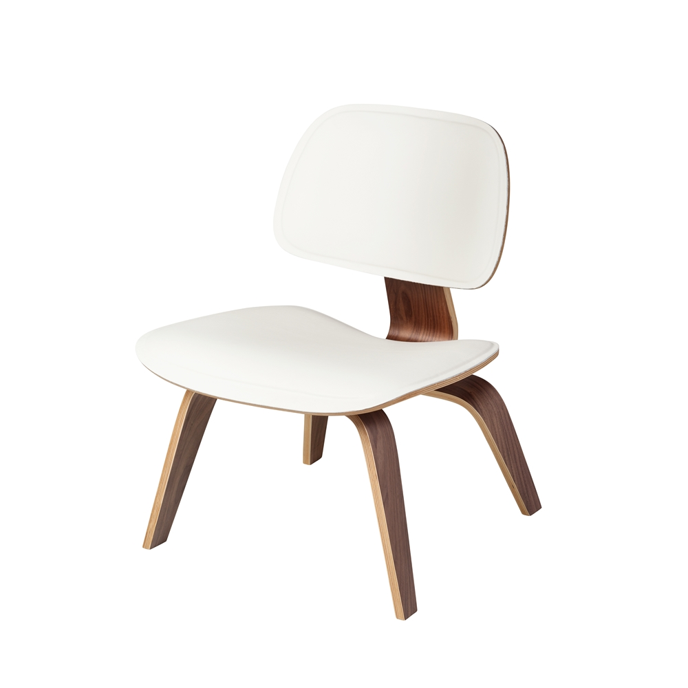 Tremendous Mid Century Modern Molded Plywood Lounge Chair White Leather Andrewgaddart Wooden Chair Designs For Living Room Andrewgaddartcom
