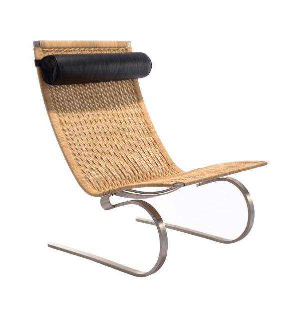 Astonishing Easy Chair In Rattan With Black Leather Head Rest Inzonedesignstudio Interior Chair Design Inzonedesignstudiocom