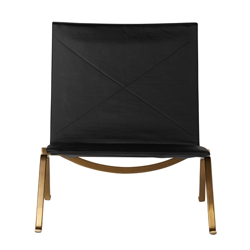 PK22 Style Easy Chair in Black Leather and Gold