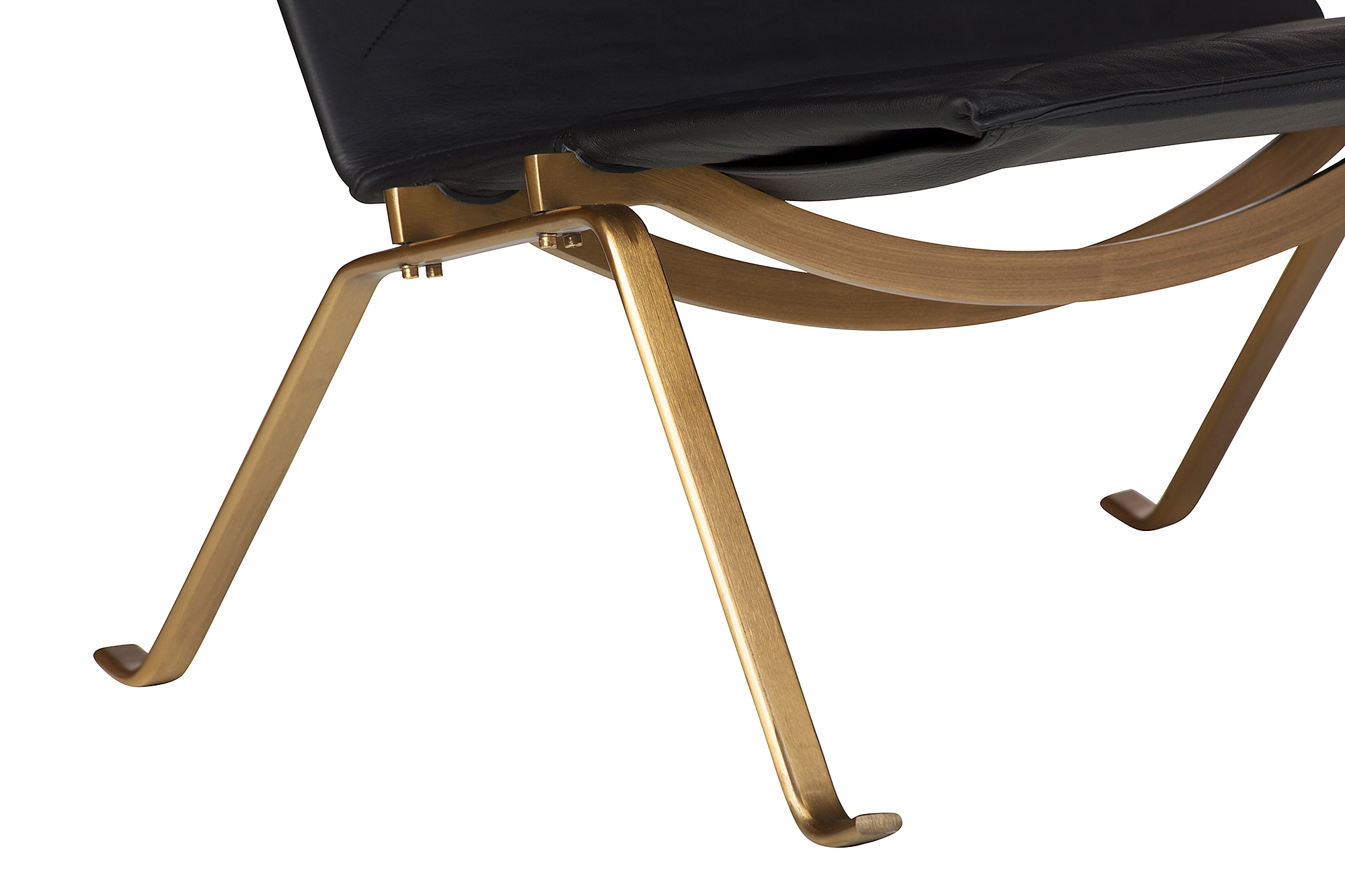 Outstanding Pk22 Style Easy Chair In Black Leather And Gold Inzonedesignstudio Interior Chair Design Inzonedesignstudiocom