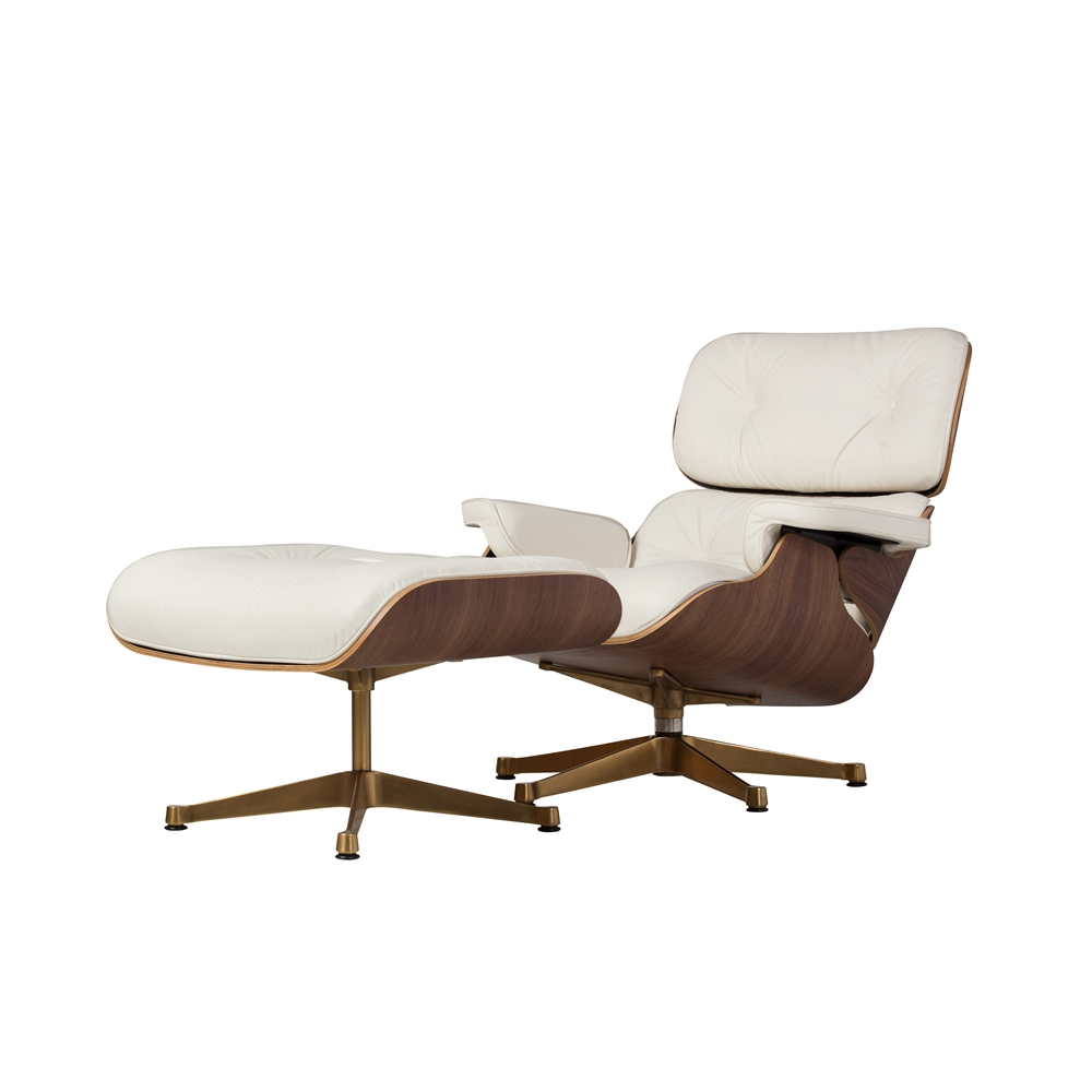 Outstanding Mid Century Style Lounge Chair And Ottoman White Leather Evergreenethics Interior Chair Design Evergreenethicsorg
