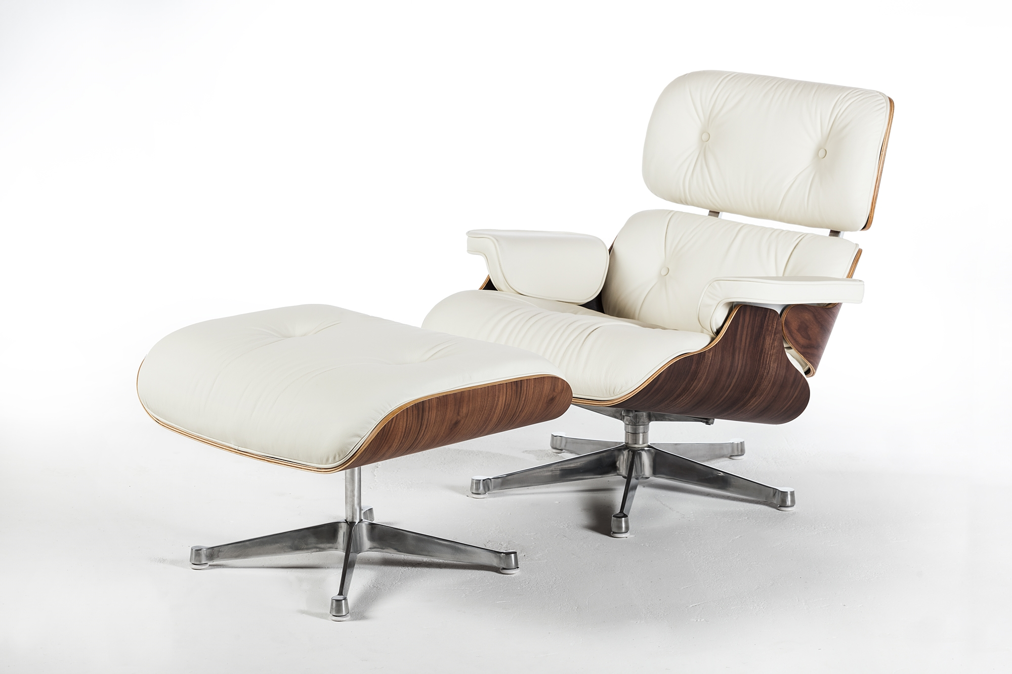 Mid Century Style Lounge Chair And Ottoman White Leather
