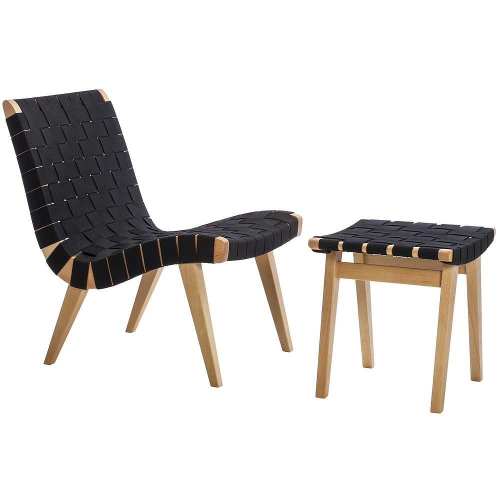 risom lounge chair the khazana home austin furniture store - risom inspired lounge chair and ottoman black