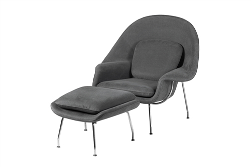 Womb Inspired Chair and Ottoman Medium Grey