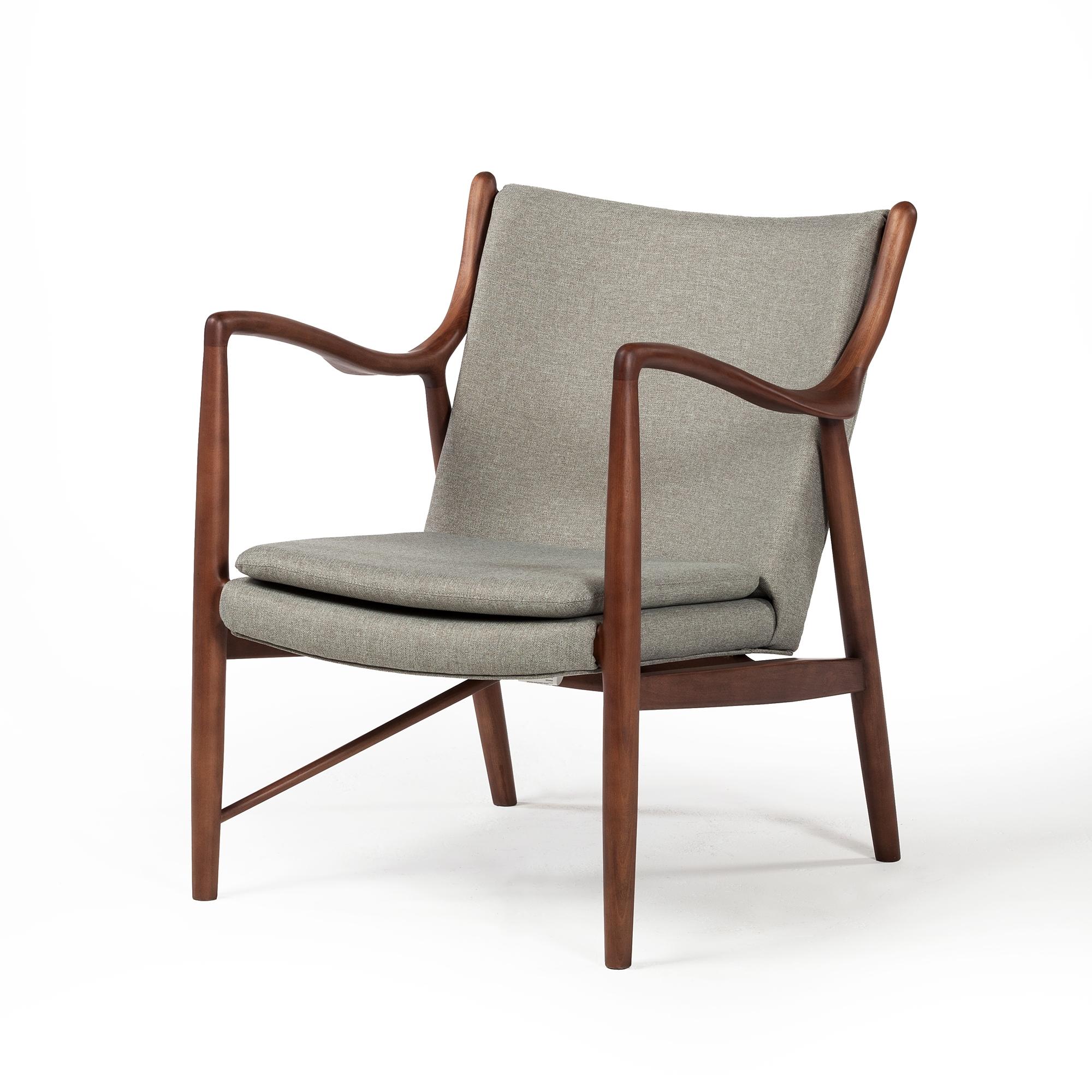 Finn juhl inspired 45 chair walnut frame in grey