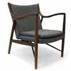 Finn Juhl Inspired 45 Chair Walnut Frame in Dark Grey