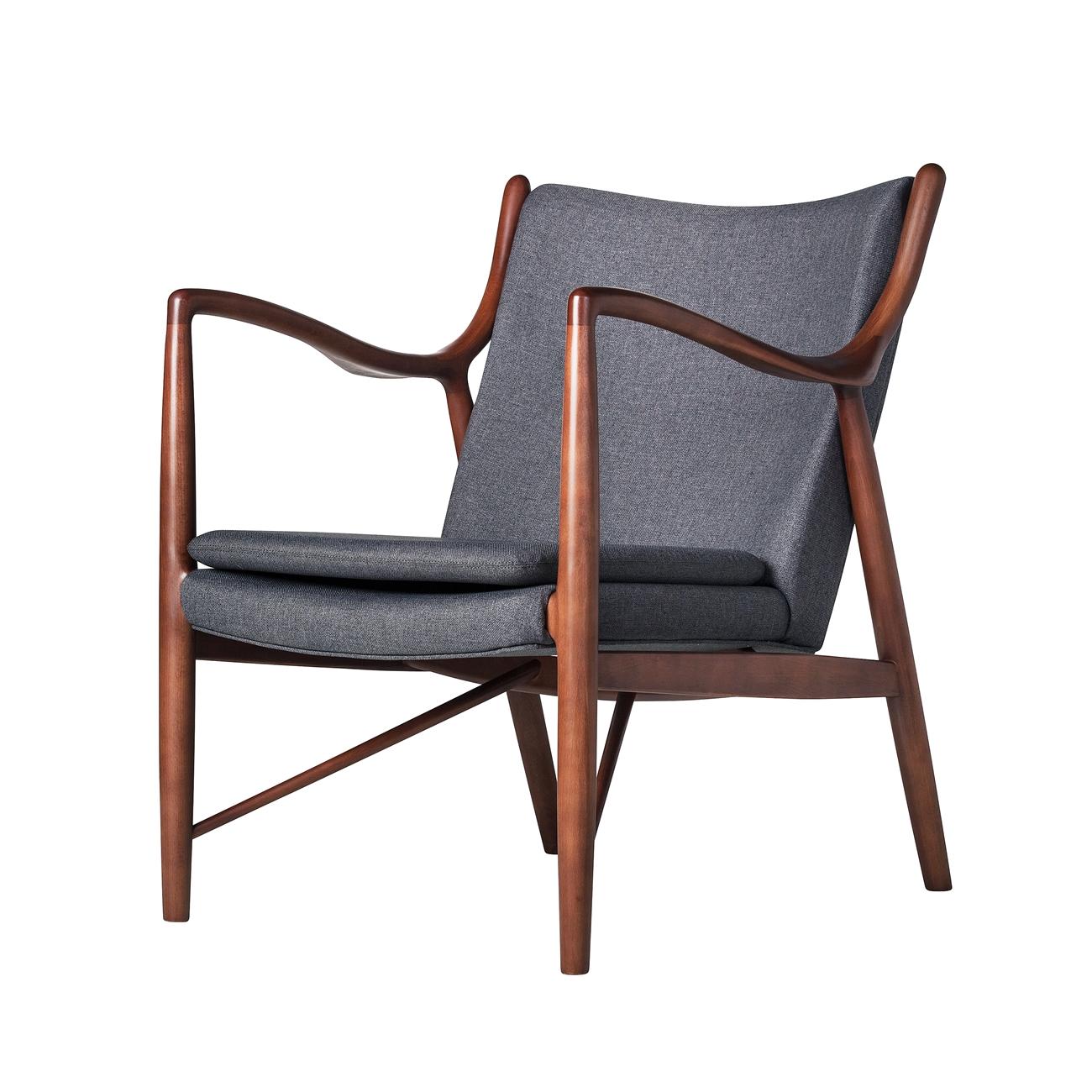 Astounding Finn Juhl Inspired 45 Chair Walnut Frame In Dark Grey Pabps2019 Chair Design Images Pabps2019Com