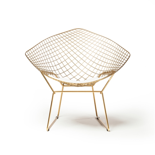 Bertoia Wire Diamond Chair in Champagne Gold