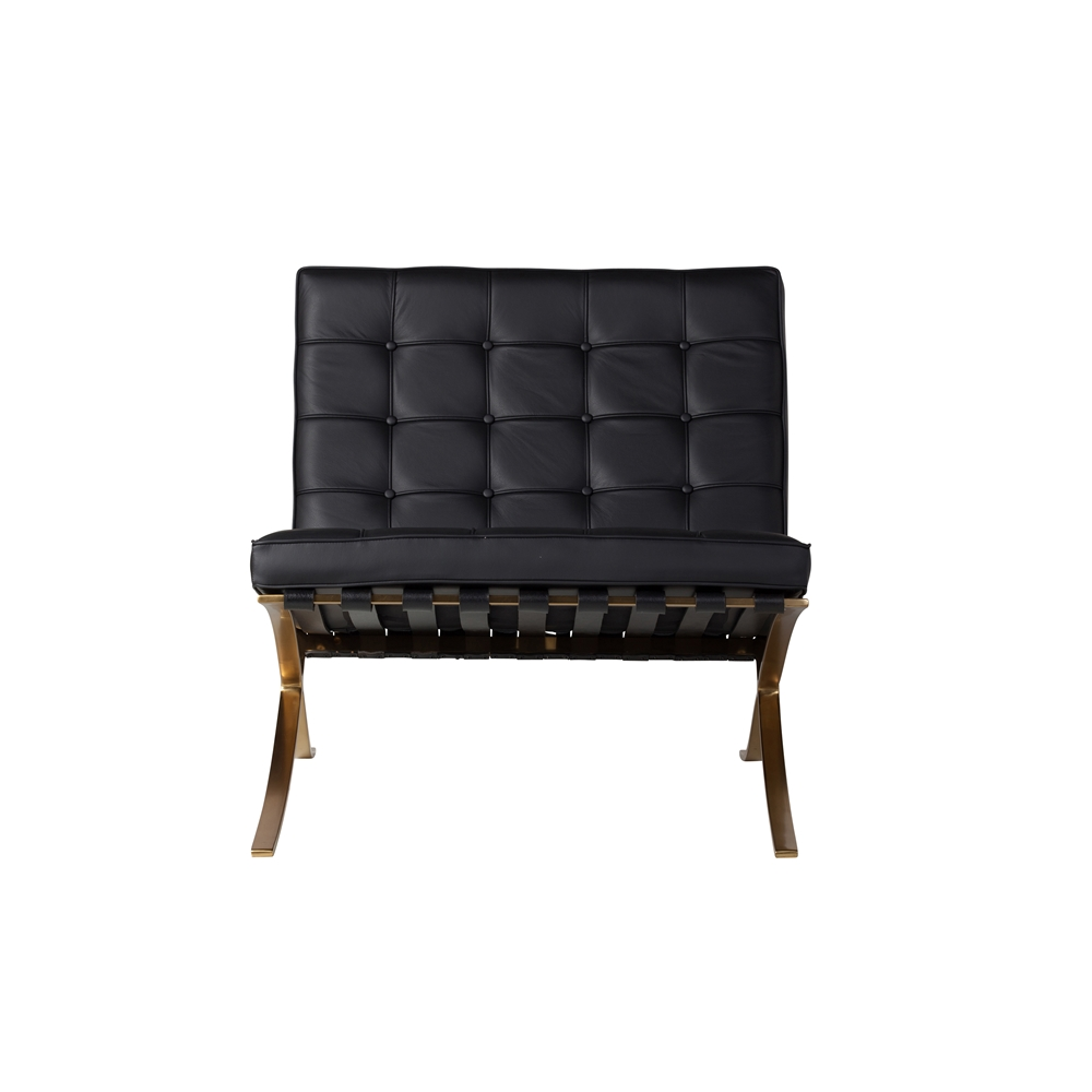 Swell Barcelona Chair Ottoman Black Leather Champagne Gold The Khazana Home Furniture Store Caraccident5 Cool Chair Designs And Ideas Caraccident5Info