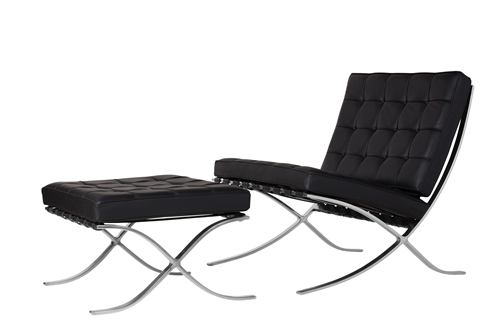 Barcelona Chair & Ottoman, Black Leather & Brushed Chrome