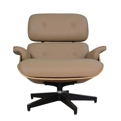 Eames inspired Lounge Beige Chair and Ottoman
