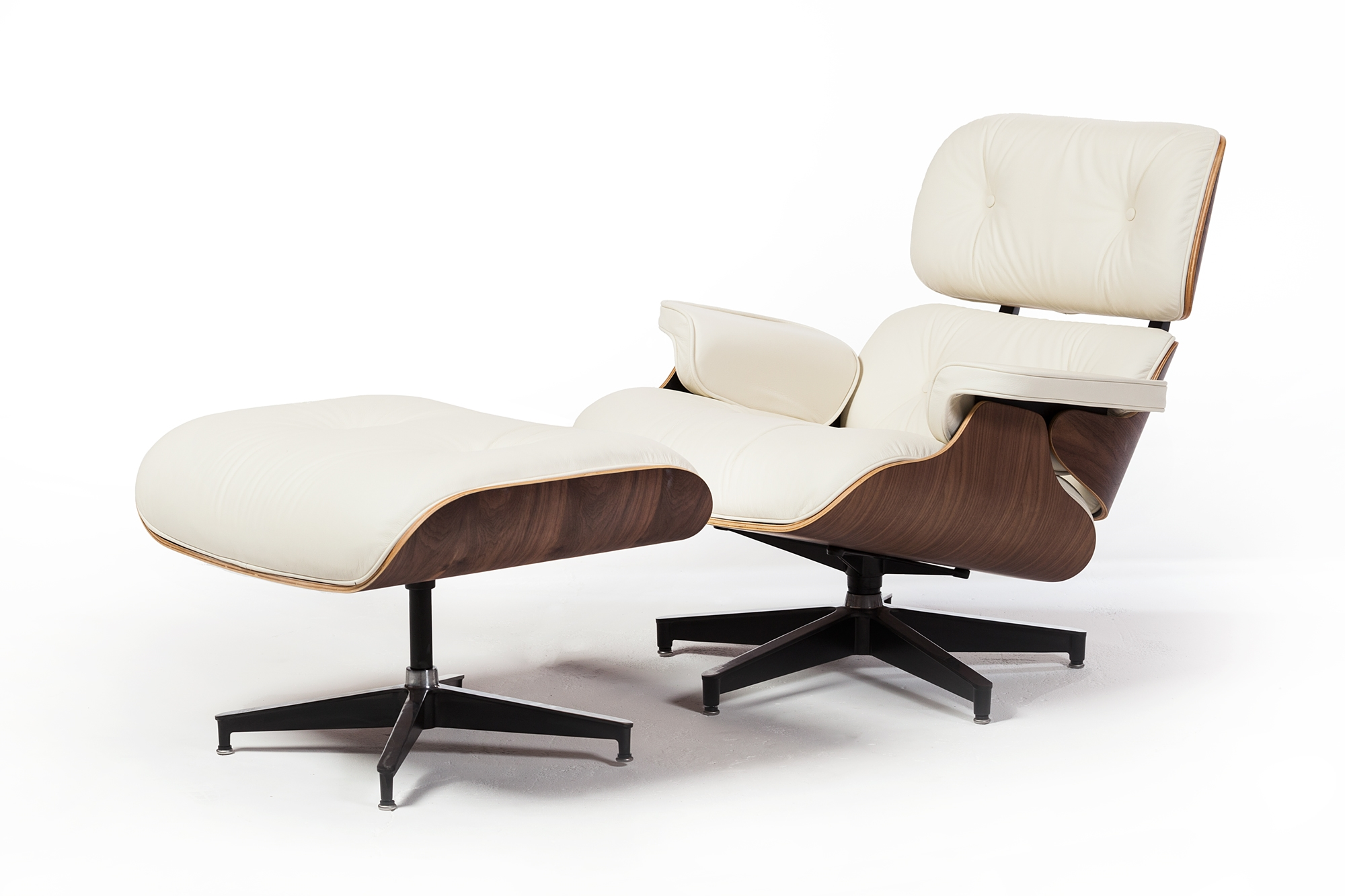 Mid Century Plywood Lounge Chair And Ottoman In White Leather