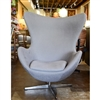 Arne Jacobsen Inspired Egg Swivel Chair and Ottoman