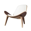 Hans Wegner Shell Inspired Chair 07 in White Leather