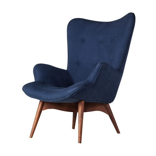 Featherston Style Contour Chair in Navy Blue