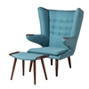 Papa Bear Inspired Chair with Ottoman-Light Blue