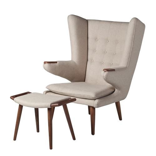 Papa Bear Inspired Chair with Ottoman-Beige