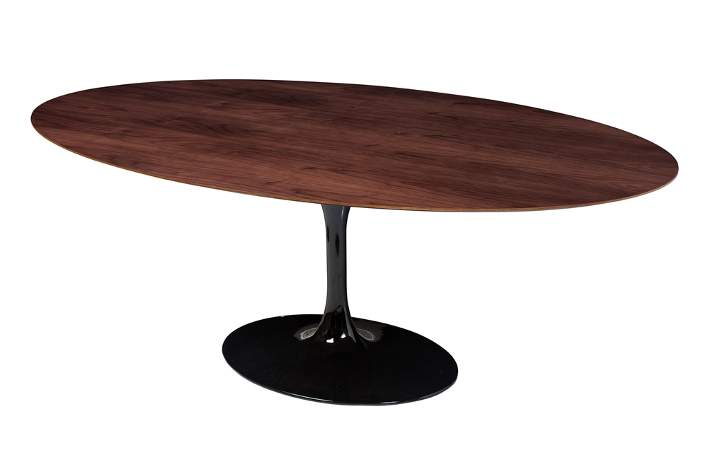 Saarinen Style Tulip Walnut Oval Dining Table 77