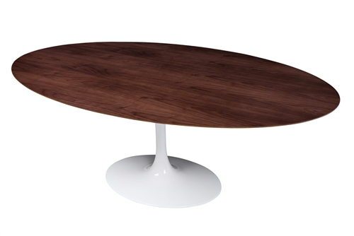 Saarinen Style Tulip Walnut Oval Dining Table 77""